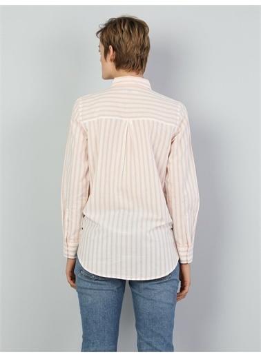 Colin's CL1047152_Q1.V1_PSL Regular Fit Shirt Neck Kadın Somon Uzun Kol Gömlek Somon